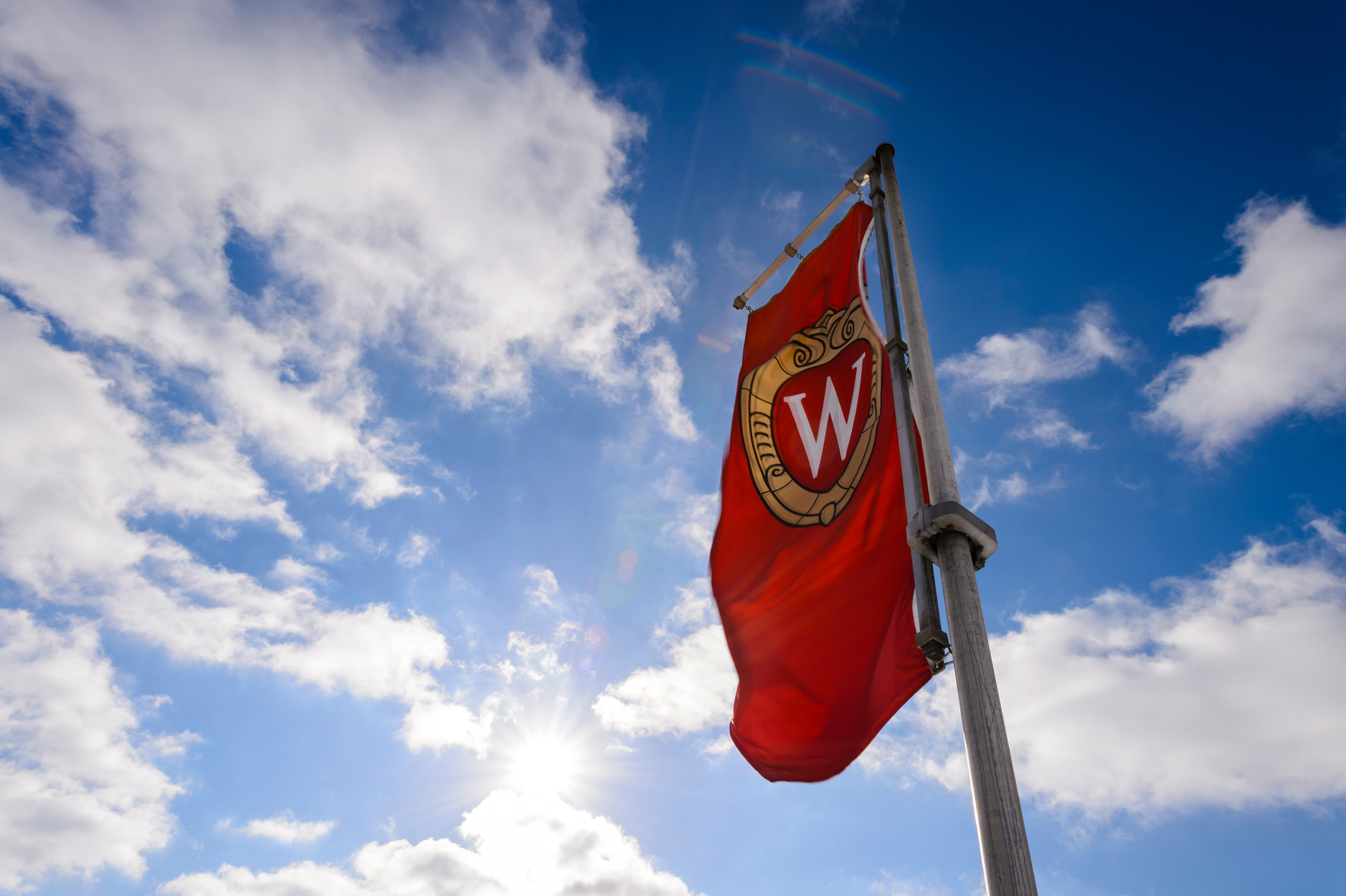 W crest banner against the sky